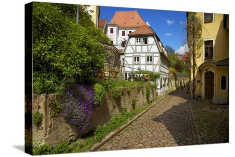 Timber-Frame at the 'Freiheit' in the Old Town of Mei§en-Uwe Steffens-Stretched Canvas Print