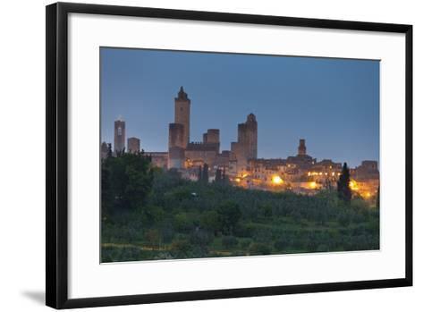 Italy, Tuscany, Province Siena, San Gimignano, Night-Rainer Mirau-Framed Art Print
