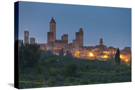 Italy, Tuscany, Province Siena, San Gimignano, Night-Rainer Mirau-Stretched Canvas Print