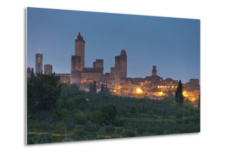 Italy, Tuscany, Province Siena, San Gimignano, Night-Rainer Mirau-Metal Print