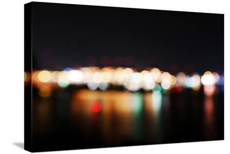 Hamburg Harbour in the Evening, Lights, Hamburg, Germany, Europe-Axel Schmies-Stretched Canvas Print