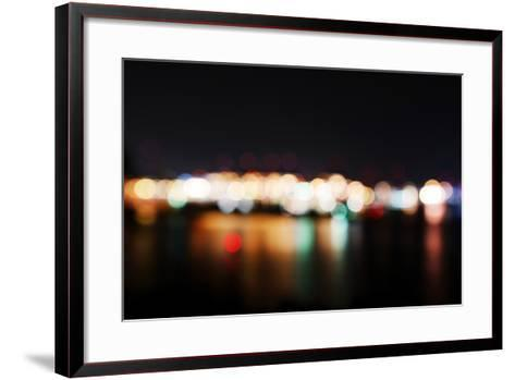 Hamburg Harbour in the Evening, Lights, Hamburg, Germany, Europe-Axel Schmies-Framed Art Print