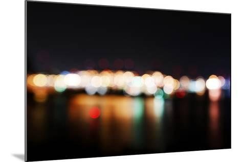 Hamburg Harbour in the Evening, Lights, Hamburg, Germany, Europe-Axel Schmies-Mounted Photographic Print