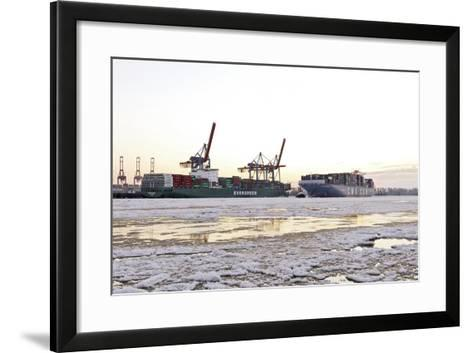Container Ship Doing a Turning Manoeuvre, Ice Drift, Harbour Cranes-Axel Schmies-Framed Art Print