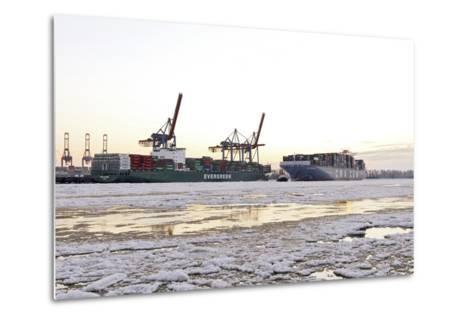 Container Ship Doing a Turning Manoeuvre, Ice Drift, Harbour Cranes-Axel Schmies-Metal Print
