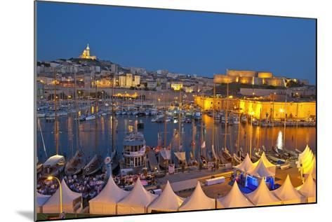 Europe, South of France, Provence, Marseille, Vieux Port Harbour, Celebration, Dusk-Chris Seba-Mounted Photographic Print