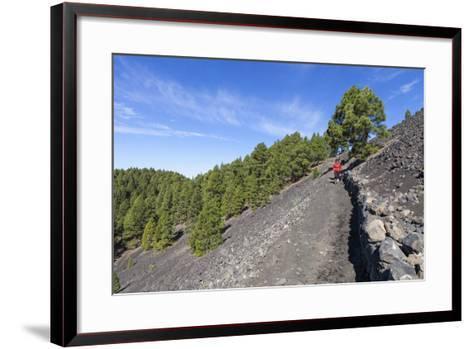 Woman Hiking in the Volcano Landscape of the Nature Reserve Cumbre Vieja, La Palma, Spain-Gerhard Wild-Framed Art Print