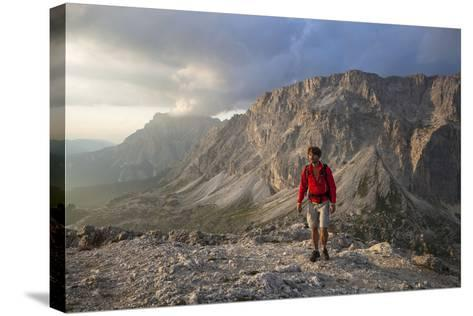 Hiker 'Sass De Stria' (Mountain), in Front of the Piccolo Lagazuoi, Province of Belluno-Gerhard Wild-Stretched Canvas Print