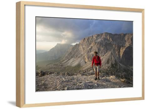 Hiker 'Sass De Stria' (Mountain), in Front of the Piccolo Lagazuoi, Province of Belluno-Gerhard Wild-Framed Art Print