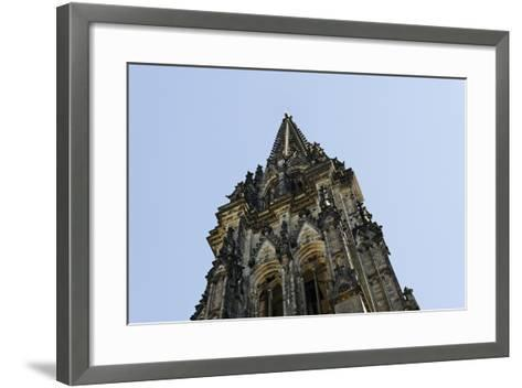Steeple of the Nikolaikirche, St Nikolai, Hamburg-Mitte, Hanseatic City of Hamburg, Germany-Axel Schmies-Framed Art Print