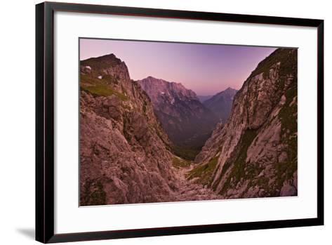 Slovenia, Mountains, Rocks, View, Evening Light-Rainer Mirau-Framed Art Print