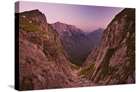 Slovenia, Mountains, Rocks, View, Evening Light-Rainer Mirau-Stretched Canvas Print