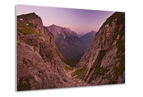 Slovenia, Mountains, Rocks, View, Evening Light-Rainer Mirau-Metal Print