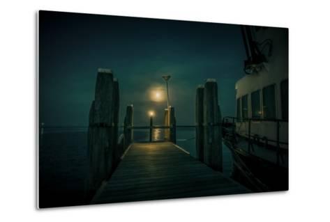 The Netherlands, Frisia, Terschelling, Harbour, Night, Moon-Ingo Boelter-Metal Print
