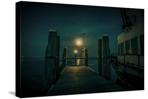 The Netherlands, Frisia, Terschelling, Harbour, Night, Moon-Ingo Boelter-Stretched Canvas Print