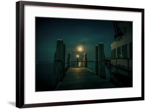 The Netherlands, Frisia, Terschelling, Harbour, Night, Moon-Ingo Boelter-Framed Art Print