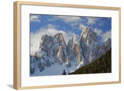Italy, South Tyrol, the Dolomites, Geislerspitzen, Geisler Gruoup-Alfons Rumberger-Framed Art Print