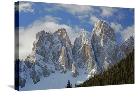 Italy, South Tyrol, the Dolomites, Geislerspitzen, Geisler Gruoup-Alfons Rumberger-Stretched Canvas Print