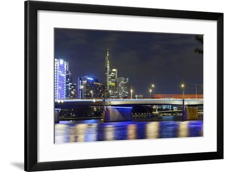 Westhafen Tower in the Direction of Financial District by Night, Frankfurt, Hesse, Germany, Europe-Axel Schmies-Framed Art Print
