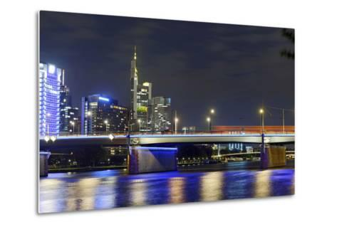 Westhafen Tower in the Direction of Financial District by Night, Frankfurt, Hesse, Germany, Europe-Axel Schmies-Metal Print