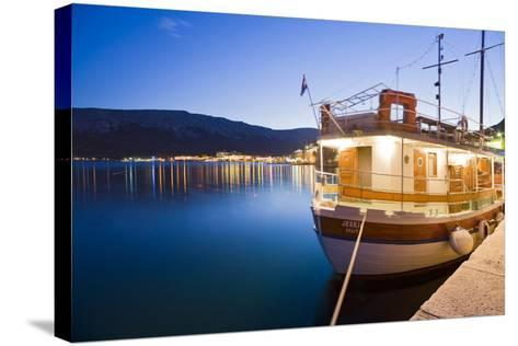 Croatia, Kvarner Gulf, Krk (Island), City of Baska, Evening, Harbour, Boat-Rainer Mirau-Stretched Canvas Print