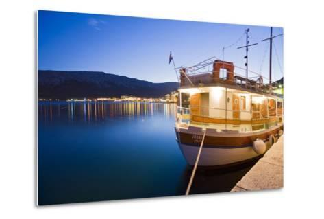 Croatia, Kvarner Gulf, Krk (Island), City of Baska, Evening, Harbour, Boat-Rainer Mirau-Metal Print