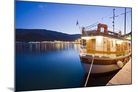 Croatia, Kvarner Gulf, Krk (Island), City of Baska, Evening, Harbour, Boat-Rainer Mirau-Mounted Photographic Print