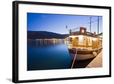 Croatia, Kvarner Gulf, Krk (Island), City of Baska, Evening, Harbour, Boat-Rainer Mirau-Framed Art Print