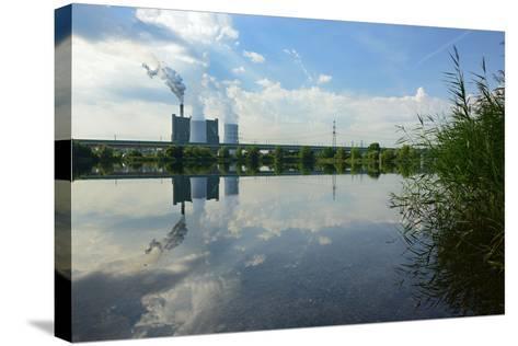 Germany, Saxony-Anhalt, Skopau, Schkopau Power Station Is Reflecting in Pond-Andreas Vitting-Stretched Canvas Print