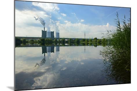 Germany, Saxony-Anhalt, Skopau, Schkopau Power Station Is Reflecting in Pond-Andreas Vitting-Mounted Photographic Print