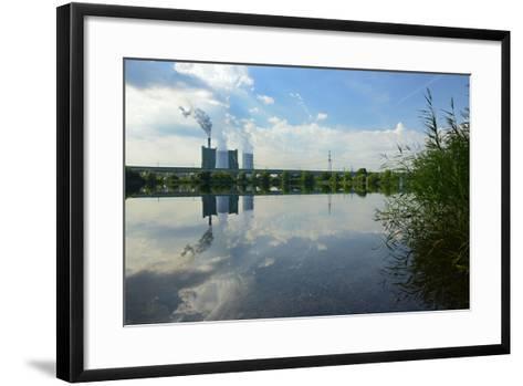 Germany, Saxony-Anhalt, Skopau, Schkopau Power Station Is Reflecting in Pond-Andreas Vitting-Framed Art Print