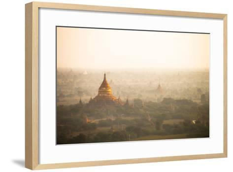 Aerial View of Ancient Temples (More Than 2200 Temples) of Bagan at Sunrise in Myanmar-Harry Marx-Framed Art Print