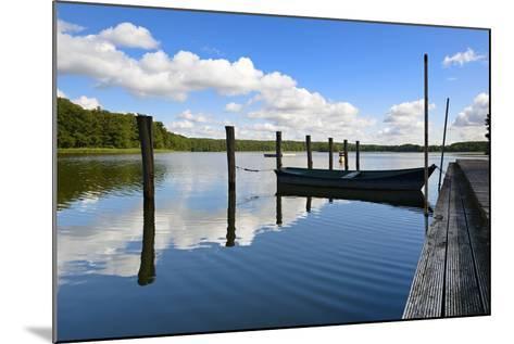 Germany, Brandenburg, Himmelpfort, Moderfitzsee, Jetty, Rowing Boat-Andreas Vitting-Mounted Photographic Print