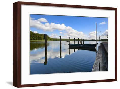 Germany, Brandenburg, Himmelpfort, Moderfitzsee, Jetty, Rowing Boat-Andreas Vitting-Framed Art Print