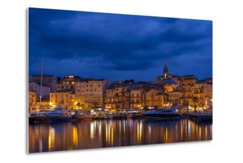 Europe, France, Corsica, Calvi, Harbour and Houses in the Dusk-Gerhard Wild-Metal Print