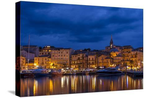 Europe, France, Corsica, Calvi, Harbour and Houses in the Dusk-Gerhard Wild-Stretched Canvas Print