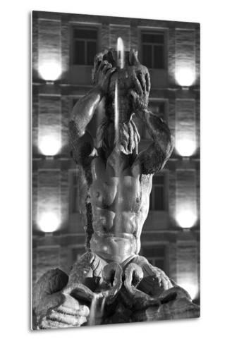 Italy, Rome, Fountain, Fontana Del Tritone, Fountain Figure, Sea God, Detail, Lighting, Night, S/W-Rainer Mirau-Metal Print