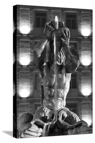 Italy, Rome, Fountain, Fontana Del Tritone, Fountain Figure, Sea God, Detail, Lighting, Night, S/W-Rainer Mirau-Stretched Canvas Print