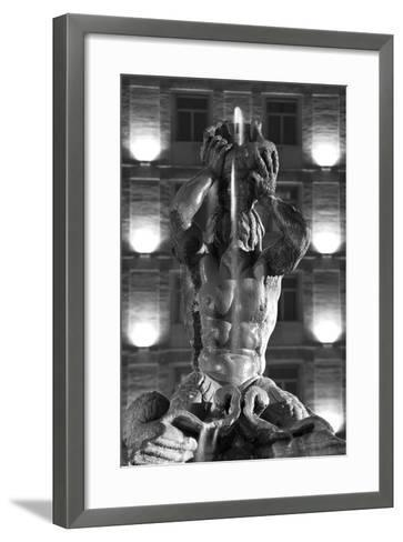 Italy, Rome, Fountain, Fontana Del Tritone, Fountain Figure, Sea God, Detail, Lighting, Night, S/W-Rainer Mirau-Framed Art Print