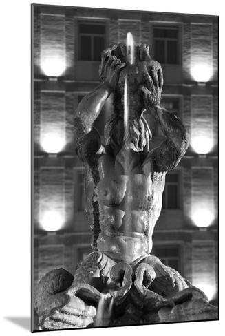 Italy, Rome, Fountain, Fontana Del Tritone, Fountain Figure, Sea God, Detail, Lighting, Night, S/W-Rainer Mirau-Mounted Photographic Print