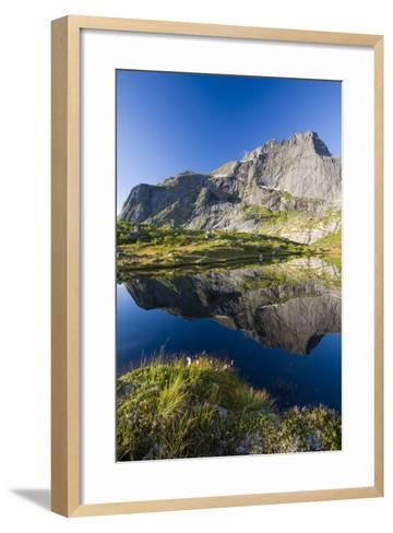 Scandinavia, Norway, Lofoten, Flakstadoey, Stjerntinden, Steep-Coast, Rocks, Water, Landscape-Rainer Mirau-Framed Art Print