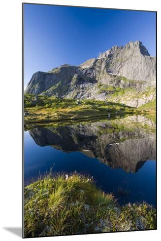 Scandinavia, Norway, Lofoten, Flakstadoey, Stjerntinden, Steep-Coast, Rocks, Water, Landscape-Rainer Mirau-Mounted Photographic Print