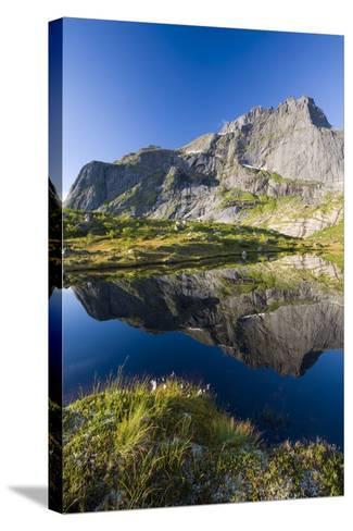 Scandinavia, Norway, Lofoten, Flakstadoey, Stjerntinden, Steep-Coast, Rocks, Water, Landscape-Rainer Mirau-Stretched Canvas Print