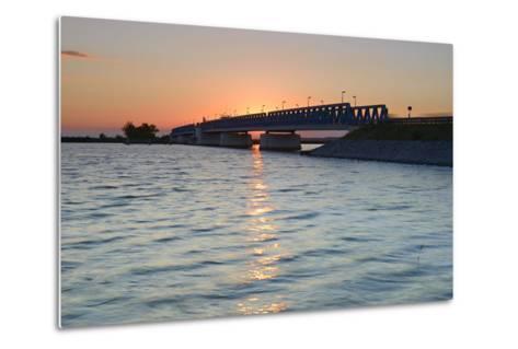 Sunset at the Peenestrom, Balance Bridge to the Island Usedom, Mecklenburg-West Pomerania, Germany-Andreas Vitting-Metal Print