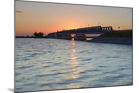 Sunset at the Peenestrom, Balance Bridge to the Island Usedom, Mecklenburg-West Pomerania, Germany-Andreas Vitting-Mounted Photographic Print