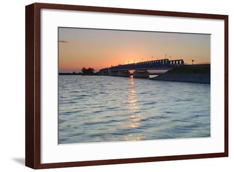 Sunset at the Peenestrom, Balance Bridge to the Island Usedom, Mecklenburg-West Pomerania, Germany-Andreas Vitting-Framed Art Print