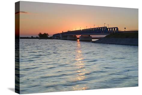 Sunset at the Peenestrom, Balance Bridge to the Island Usedom, Mecklenburg-West Pomerania, Germany-Andreas Vitting-Stretched Canvas Print