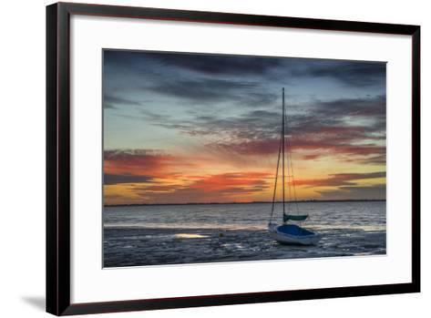 Evening Light with Sailboat at the Wadden Sea, Dangast, Jade Bay, the North Sea, Frisia-Axel Ellerhorst-Framed Art Print