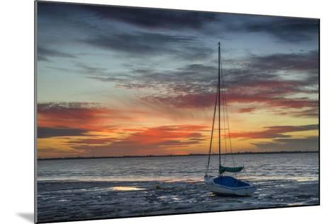 Evening Light with Sailboat at the Wadden Sea, Dangast, Jade Bay, the North Sea, Frisia-Axel Ellerhorst-Mounted Photographic Print