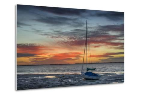 Evening Light with Sailboat at the Wadden Sea, Dangast, Jade Bay, the North Sea, Frisia-Axel Ellerhorst-Metal Print